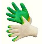 Перчатки х/б с латексным покрытием зеленые