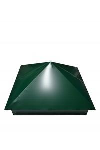 Шапка для заборного столба четырехскатная 380*500мм зеленая