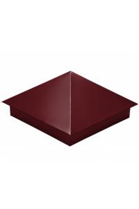Шапка для заборного столба четырехскатная 380*380мм красное вино