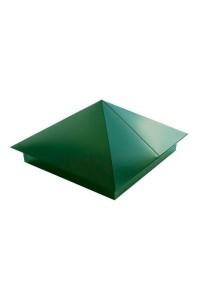 Шапка для заборного столба четырехскатная 380*380мм зеленая