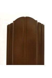 Металлический Евроштакетник Вик коричневый полукруглый