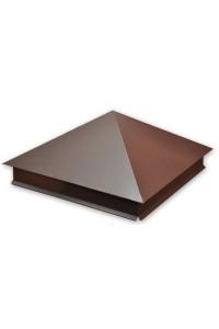 Шапка для заборного столба четырехскатная 380*500мм коричневая
